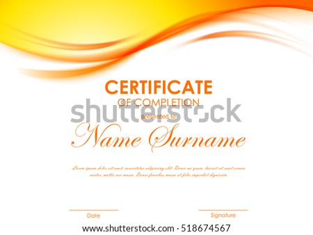 Certificate of completion template with dynamic orange soft wavy background. Vector illustration