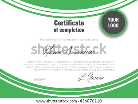 Certificate appreciation template green dynamic light stock vector certificate of completion template with geometric abstract background stock vector yadclub Choice Image