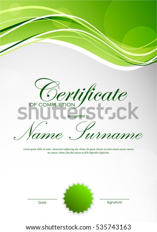 Certificate completion template green dynamic light stock vector certificate of completion template with green dynamic light wavy background and seal vector illustration yadclub Gallery