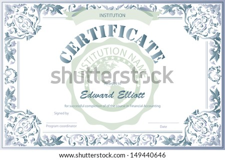 Certificate education template stock vector 149440646 shutterstock certificate of education template yadclub Gallery