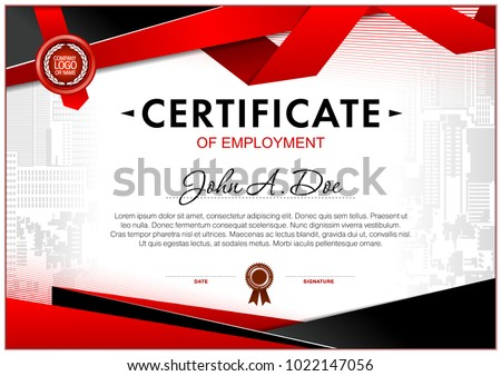certificate of employment template geometrical simple shapes and black and red color design