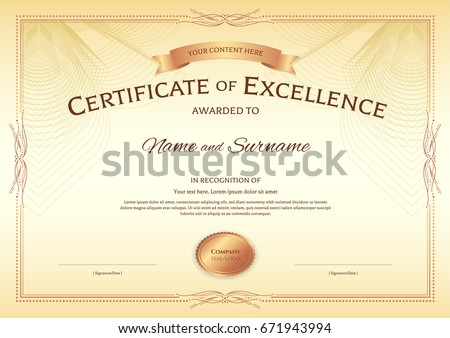 Certificate Excellence Template Award Ribbon On Stock Vector