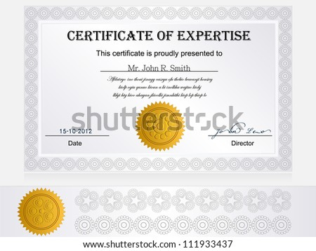 Certificate Of Expertise.