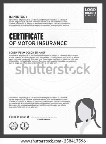 Certificate Motor Insurance Template Stock Vector