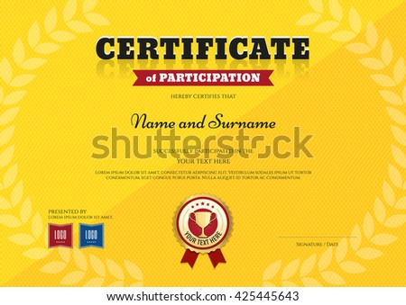 Certificate Participation Template Sport Yellow Theme Stock Vector