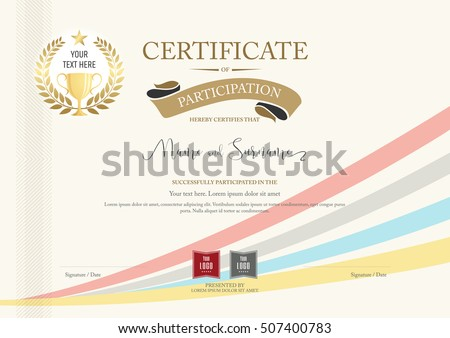 Certificate Participation Template Golden Award Laurel – Free Certificate of Participation Template