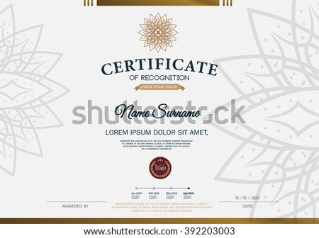 Certificate Recognition Frame Design Template Layout Stock Vector