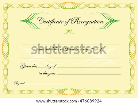 Certificate Recognition Formal Style Design Editable Stock Vector ...