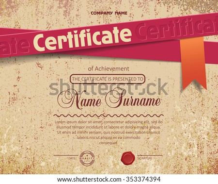certificate on old grunge paper background - stock vector