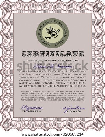 Certificate or diploma template. Complex background. Detailed.Cordial design.