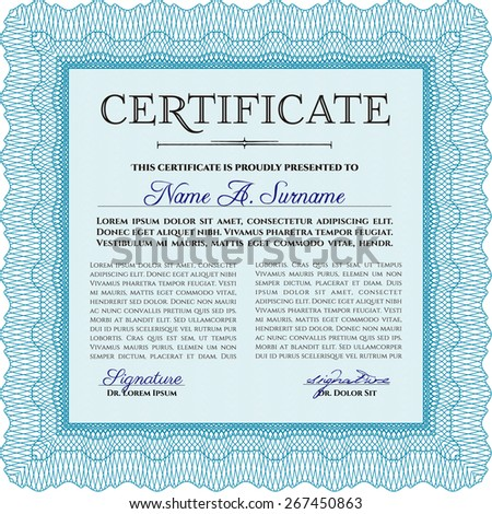Certificate or diploma template with complex design