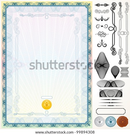 Certificate or Diploma Template with Design Elements - stock vector