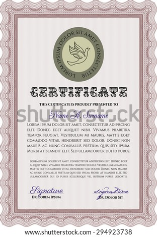 Certificate or diploma template. With great quality guilloche pattern. Vector certificate template.Excellent design.