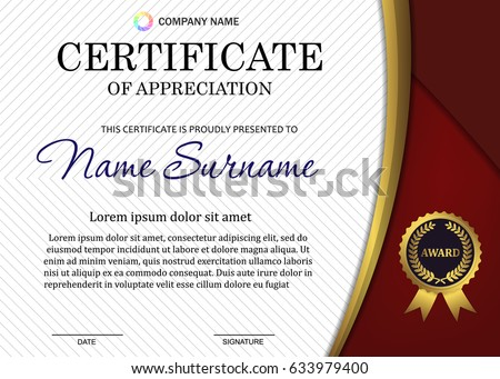 Certificate Diploma Template Luxury Patternand Award Stock Vector ...