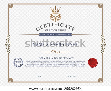 certificate template and element.  - stock vector
