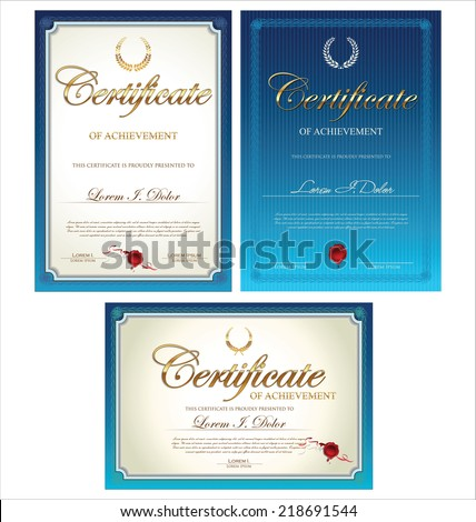 Certificate template collection - stock vector