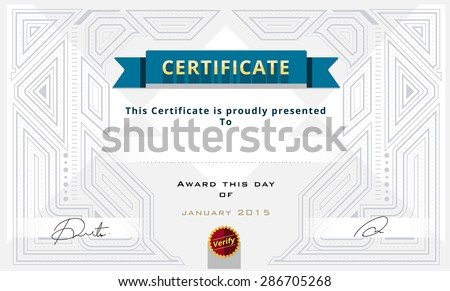 Certificate template design on white background. Gatsby background.vector illustration - stock vector