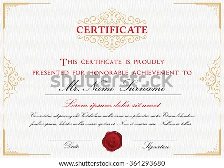 Certificate template design with emblem, flourish border on white background || A4 size +Bleed - stock vector