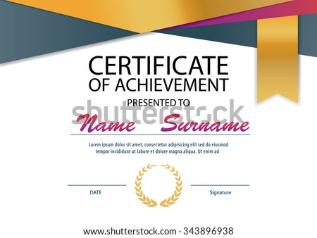 Modern Certificate Template Diploma Layout Vector 375258760 – Certificate Layout