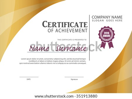 Horizontal Certificate Template Diploma Vector Vector – Certificate Layout