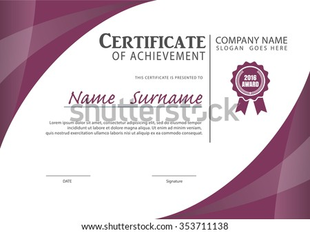 certificate template,diploma layout,A4 size ,vector - stock vector
