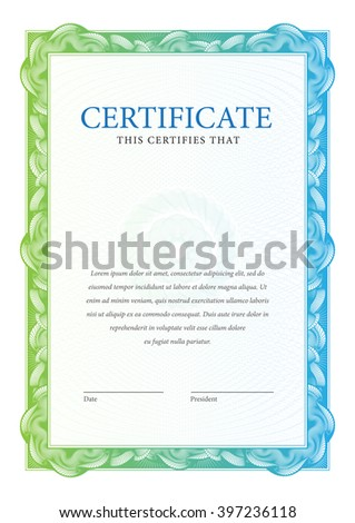 Certificate. Template diplomas, currency. Vector