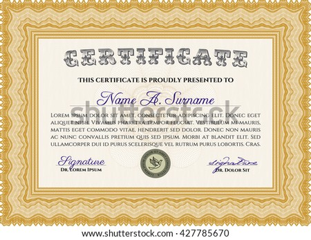 Certificate template. Easy to print. Nice design. Customizable, Easy to edit and change colors. Orange color.