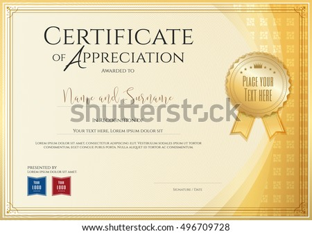 Graduation themes stock images royalty free images vectors certificate template for achievement appreciation or completion in gold theme with applied thai art background yadclub Choice Image