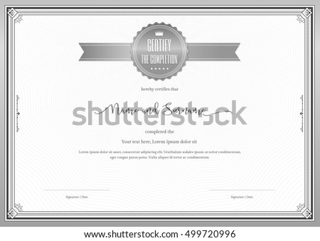 Certificate template achievement appreciation completion silver certificate template for achievement appreciation or completion in silver theme with swirl background yadclub Choice Image