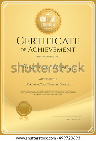 Certificate template achievement portrait appreciation completion certificate template for achievement in portrait appreciation or completion in gold theme with wax seal yadclub Choice Image