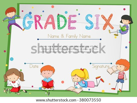 Certificate template students grade six illustration stock vector certificate template for students grade six illustration yadclub Choice Image