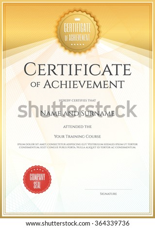 Certificate template portrait vector format achievement stock certificate template in portrait and vector format for achievement graduation completion yelopaper Image collections