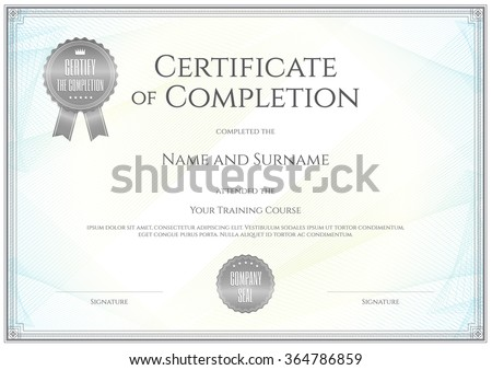 Certificate template vector achievement graduation completion certificate template in vector for achievement graduation completion yadclub Gallery