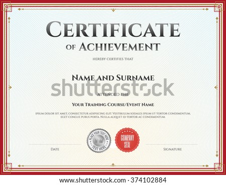 Certificate Attendance Template Vector Achievement Graduation