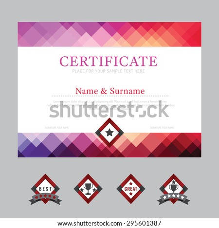 Certificate Template Layout Background Frame Design Vector. Modern Flat Art  Style  Name A Star Certificate Template