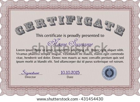 certificate template diploma template complex background stock  certificate template or diploma template complex background vector pattern that is used in currency