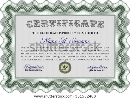 Certificate template or diploma template. Vector certificate template.With complex linear background. Nice design.