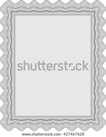 Certificate template or diploma template. Vector pattern that is used in currency and diplomas.Complex background. Beauty design. Grey color.