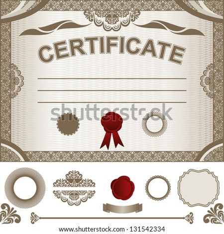 Certificate Template with additional design elements. - stock vector