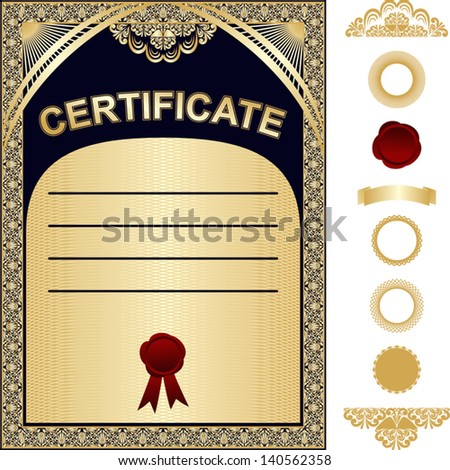Certificate Template with additional elements - gold and dark blue design - stock vector