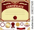 Certificate Template with additional elements - gold and dark red design - stock vector