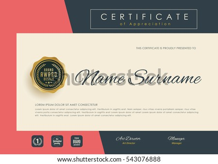 certificate template with clean and modern pattern,diploma,Vector illustration