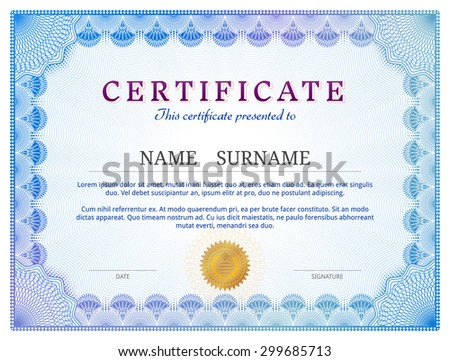 Certificate Template Guilloche Elements Blue Diploma Stock Vector - Patent certificate template