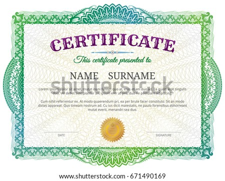 Certificate template guilloche elements green diploma stock vector certificate template with guilloche elements green diploma border design for personal conferment best vector yelopaper Gallery