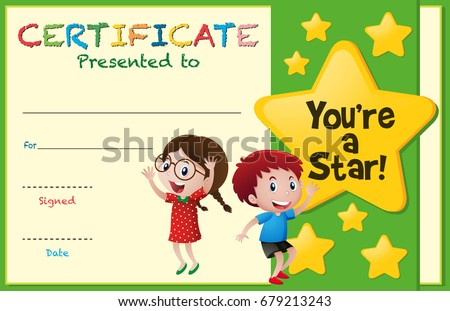 Certificate Template Kids Stars Illustration Stock Vector 679213243