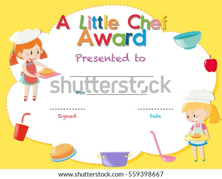 School certificate stock images royalty free images vectors certificate template with kids cooking illustration yelopaper Images