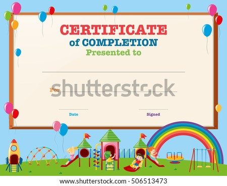 certificate template with kids in playground illustration
