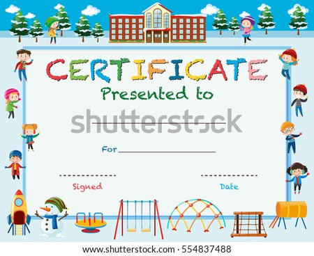 Superior Certificate Template With Kids In Winter At School Illustration Intended For Certificate Template For Kids