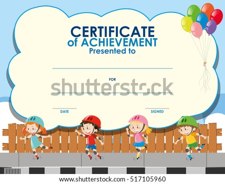 Certificate Template With Kids Skating Illustration  Certificate Template For Kids