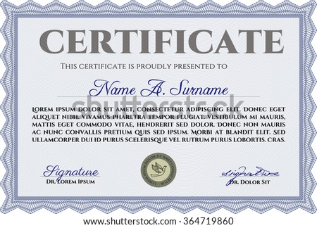 Diploma frame certificate template vectorcordial design stock certificate template with linear background money styledern design yelopaper Gallery